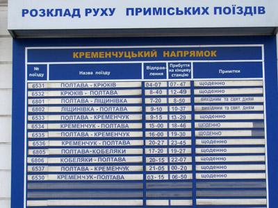 Расписание пригородных поездов из Полтавы на Кременчуг