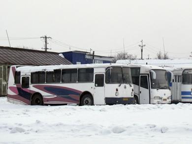 ЛАЗ-695Т на территории ООО «Кобелякиавтотранс», февраль 2012