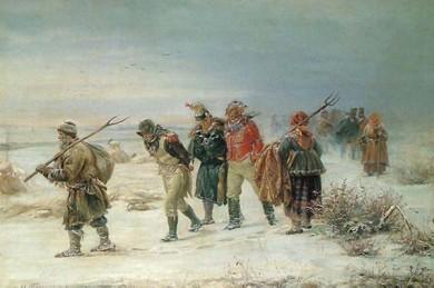 Селяни ведуть захоплених французів