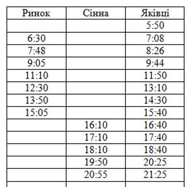 Расписание автобуса №5 Яковцы Полтава