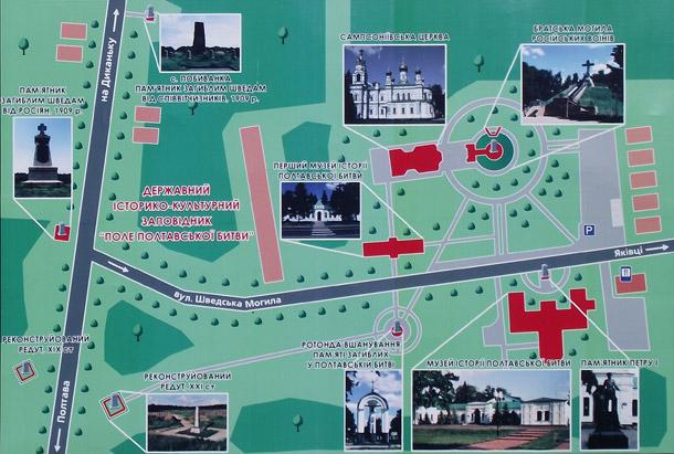 Поле Полтавської битви. Карта-схема музейного містечка