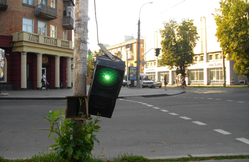 В Полтаве разбит очередной светофор