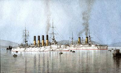 Броненосец «Полтава» рядом с «Варягом». Картина художника Л. Акентьева