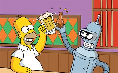 Гомер и Бендер, сериалы «Симпсоны» и «Футурама»