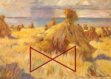Символы осеннего равноденствия — созвездие Весов, крест и сноп, положенный для молотьбы
