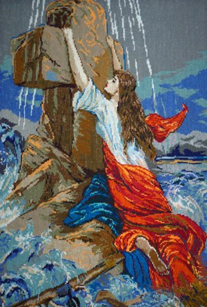 Вышитая картина «Девушка на кресте»