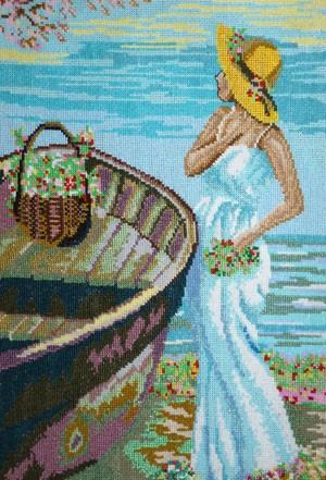 Вышитая картина «Девушка у лодки»