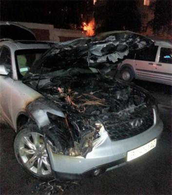 Сгоревший автомобиль «Infiniti FX» депутата полтавского горсовета Игоря Лебедика