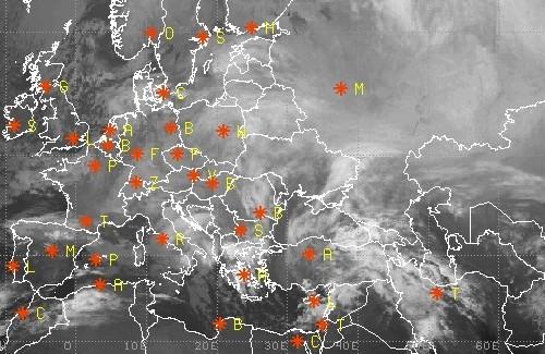 Инфракрасное фото Европы со спутника, 17 декабря 8:15