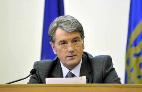 Віктор Ющенко під час робочої поїздки до Полтавської області 12 листопада 2009 р.