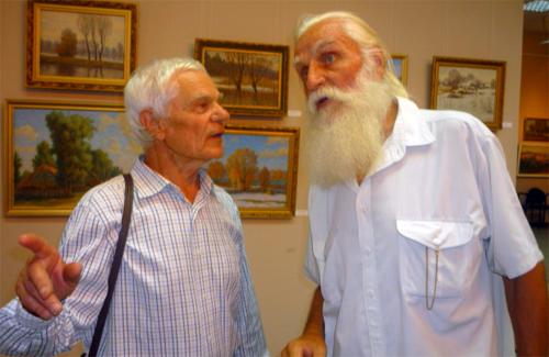 Андрій Гета (зліва) і старійшина полтавського живопису Віктор Трохимець-Милютін