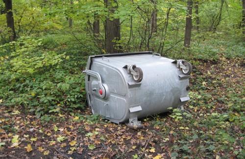 Невідомі вандали затягли вглиб дендропарку контейнер із сміттям