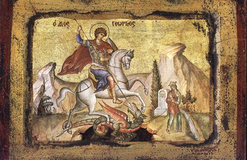 Одним из самых известных посмертных чудес святого Георгия является убийство копьем змея