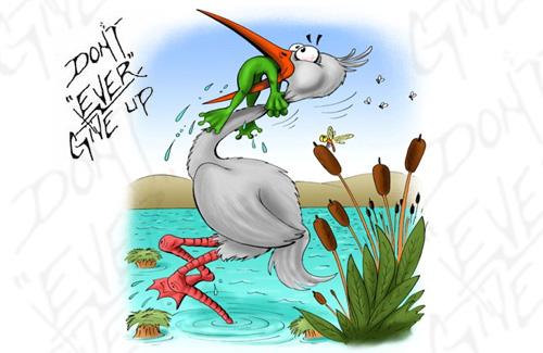 рисунок пеликан с лягушкой в пасти его месте была