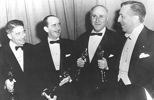 Альфред Ньюмен, Нед Вашінгтон, Дмитро Тьомкін та Волт Дісней (19 березня 1953 р.)