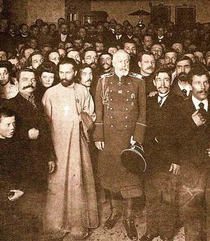 Г.А.Гапон и И.А.Фулон с группой рабочих