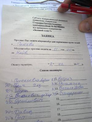 Документ, де «Зелёный слон» замовляє в одного з приватних перевізників рейс до Києва