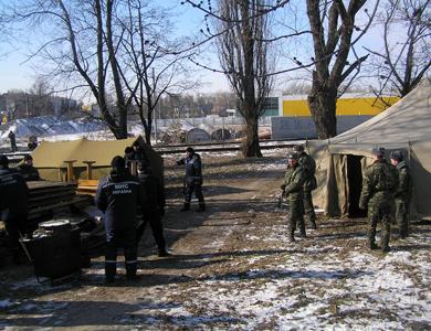 Мобільний пункт обігріву в Кременчуці