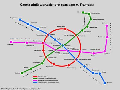 Схема ліній швидкісного трамваю м. Полтави