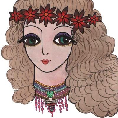 «Девушка с пышными волосами» – рисунок Саши Путри, 1988г.