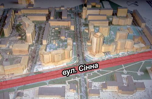 План забудови на вулиці Сінній в Полтаві