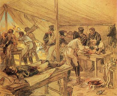 В санитарной палатке на Бородинском поле