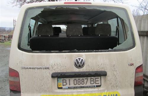 Обстріляний автомобіль