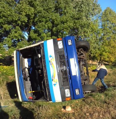 Грузовик врезался в автобус с пассажирами