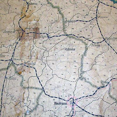 Железная дорога Гадяч - Ахтырка на карте 1921 года
