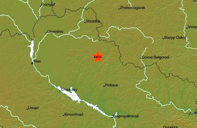 Эпицентр землетрясения обозначен красной звездой