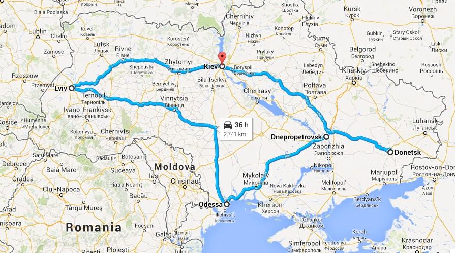 Карта другої поїздки Бектура (джерело – kloop.kg)