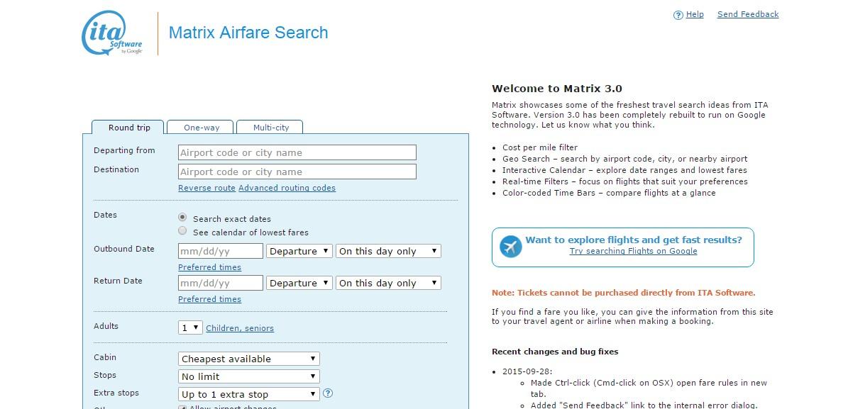 Matrix Airfare Search