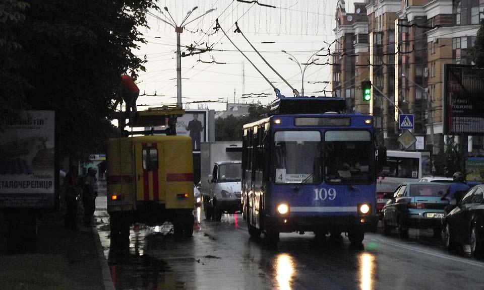 Примерно в то же время по улице Соборности (Октябрьской), 45, напротив облгосадминистрации ветки каштана упала на проезжую часть, задев троллейбусные линии. Примерно к 19:30 коммунальные службы убрали ветки.