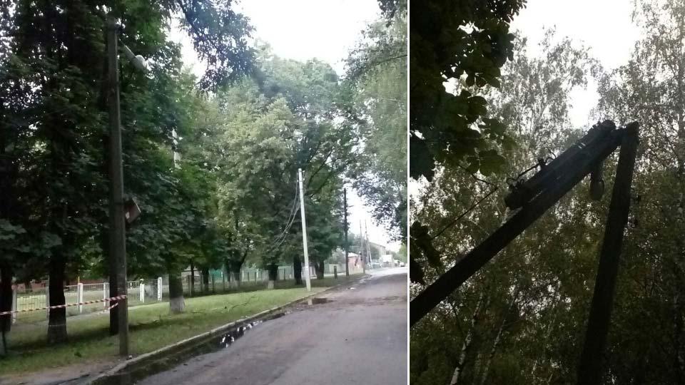 На улице Шведской из-за непогоды сломался столб. Провода, ведущие от него повисли на деревьях.