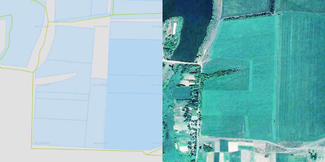 Дані з кадастрової карти та супутниковий знімок Google 2016 року