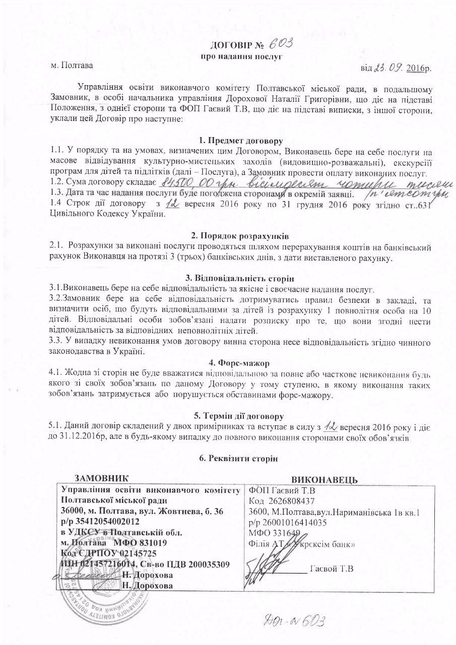 Текст договору ФОП Гаєвого та управління освіти з сайту ProZorro