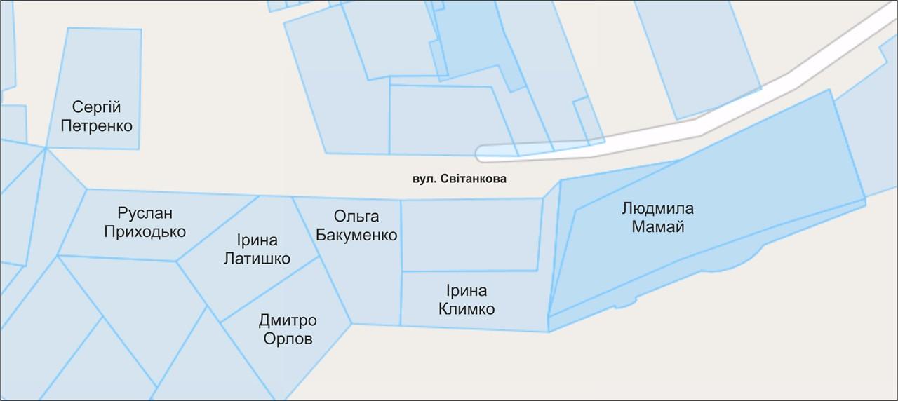 Власники земельних ділянок на вул. Світанковій станом на вересень 2013 року