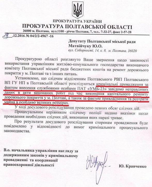 Скан відповіді прокурора на запит депутата міської ради Ю.Матвійчука
