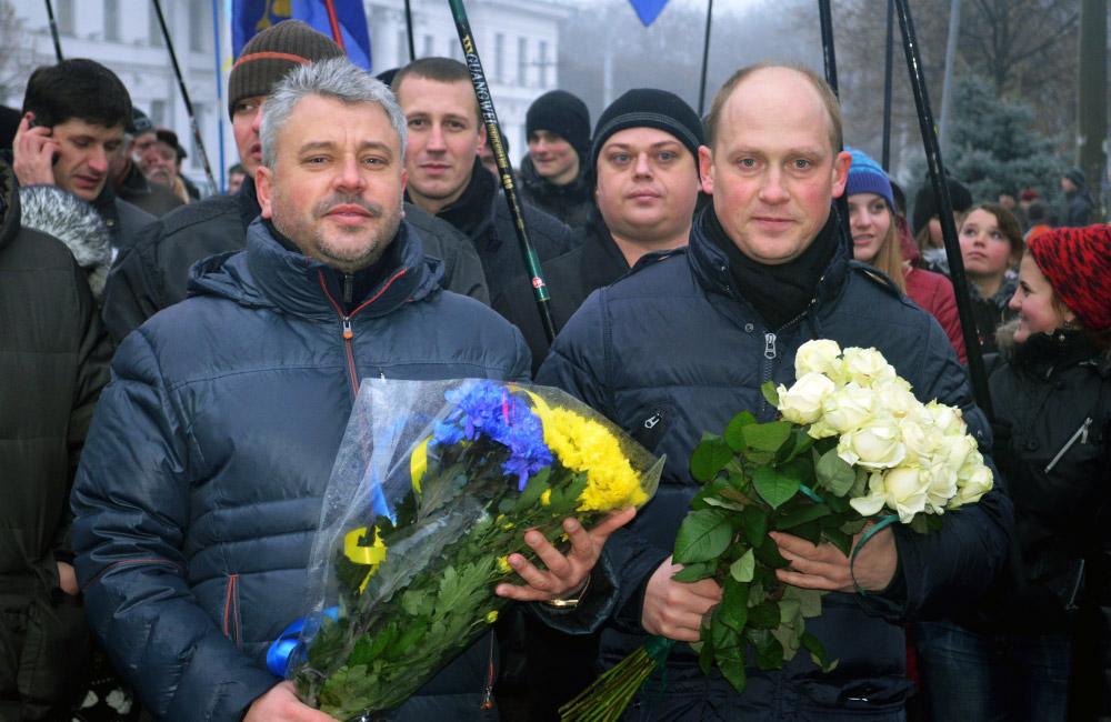 Народні депутати Юрій Бублик та Сергій Каплін (День Соборності, 2013 рік)