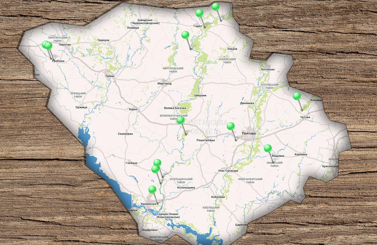 Приблизні місця незаконних порубок лісу, за які впродовж останнього року були винесені вироки