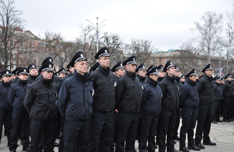 Полтавські патрульні перед присягою 5 березня 2016 року