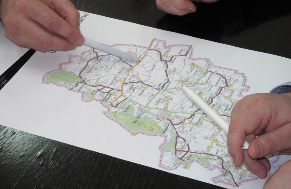 Позначення першочергових об'єктів на карті району