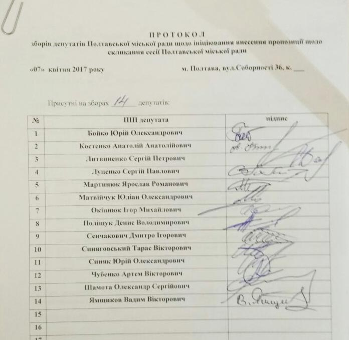 Протокол зборів депутатів Полтавської міськради