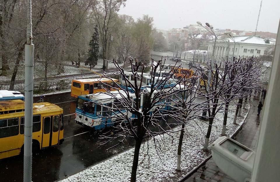 Перекриття руху біля Полтавської міськради