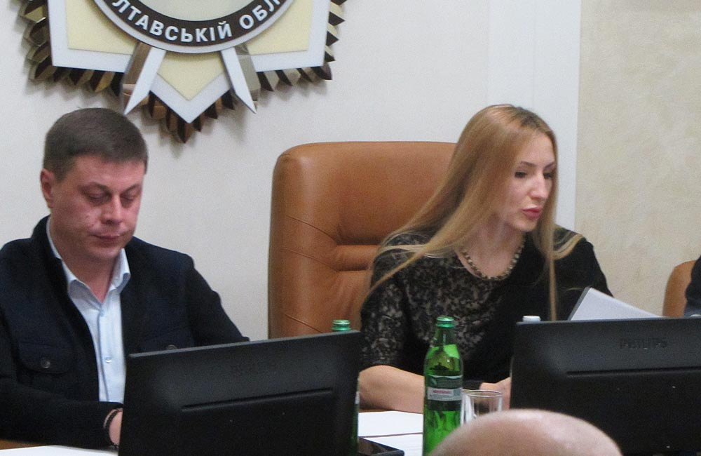 Юрій Тимоха та Ірина Степаненко під час засідання поліцейської комісії