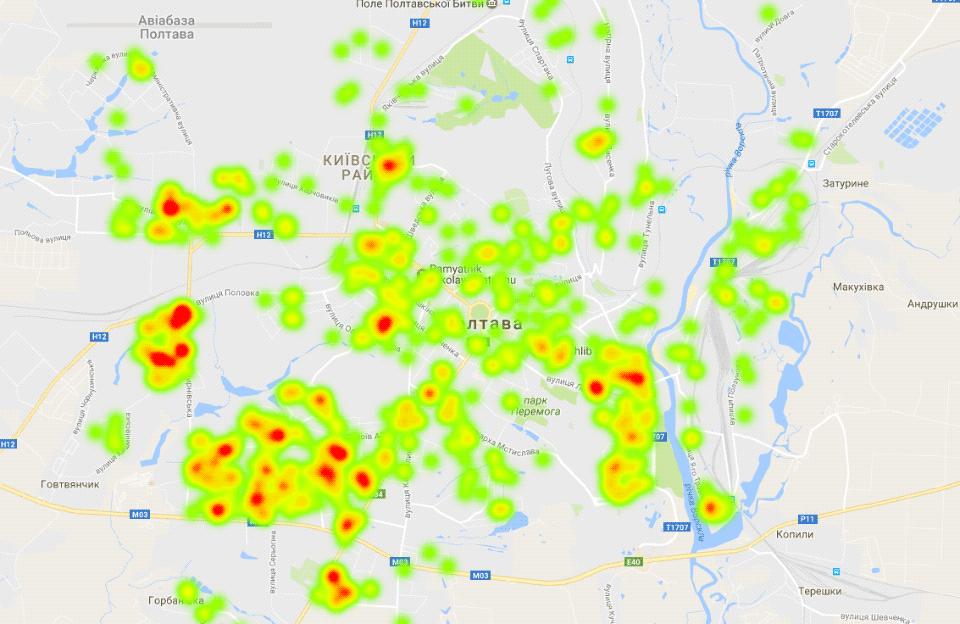 Візуалізація 1360 випадків домашнього насильства у Полтаві