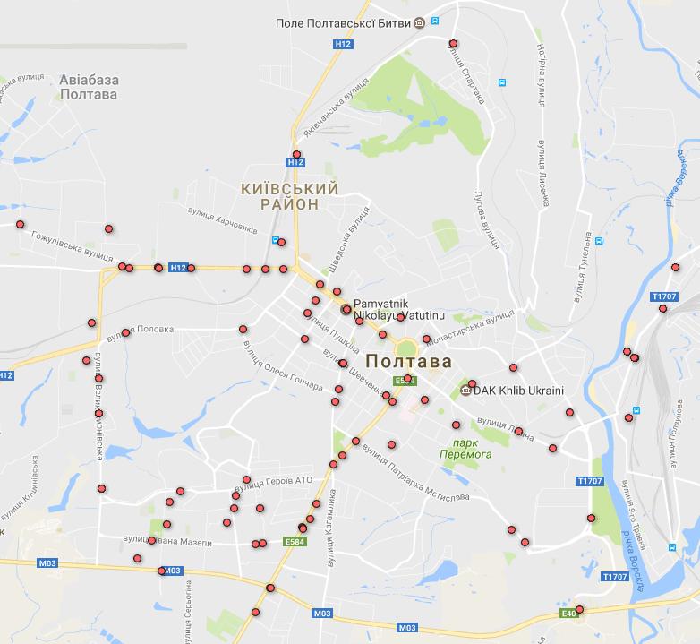 Карта ДТП з потерпілими