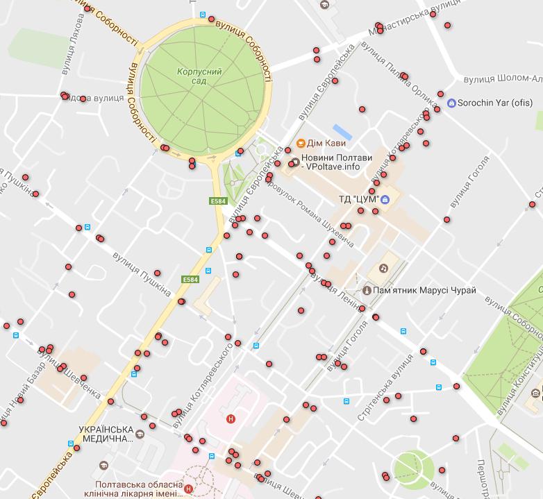 Карта ДТП без потерпілих — центр міста