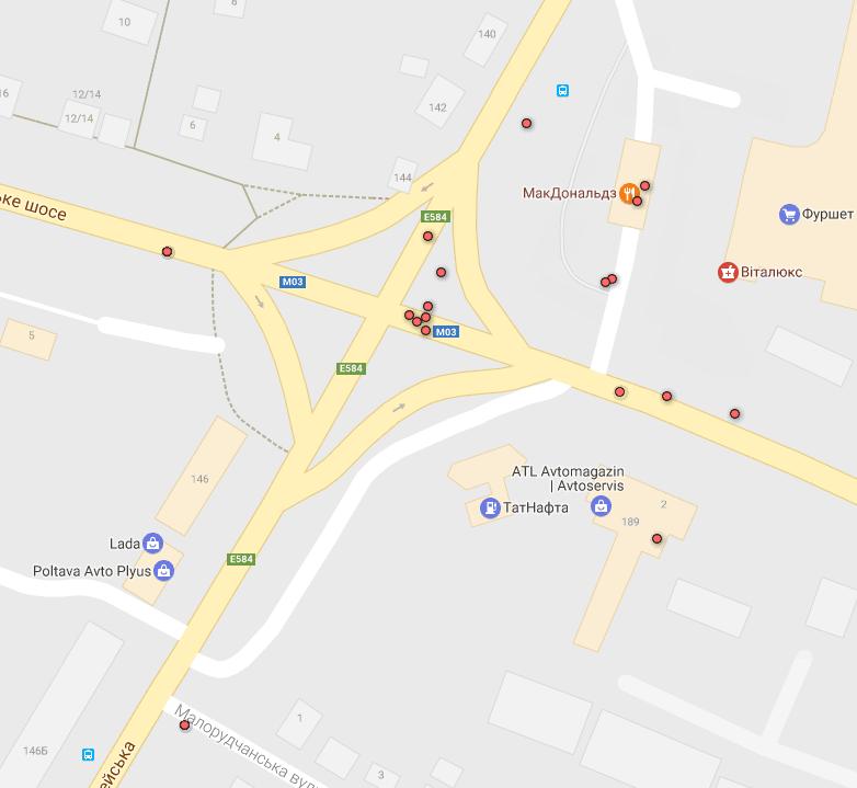 Карта ДТП без потерпілих — перехрестя Європейської, Київського та Харківського шосе