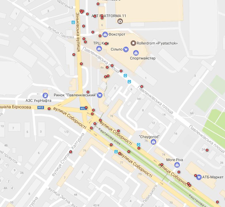 Карта ДТП без потерпілих — район площі Зигіна